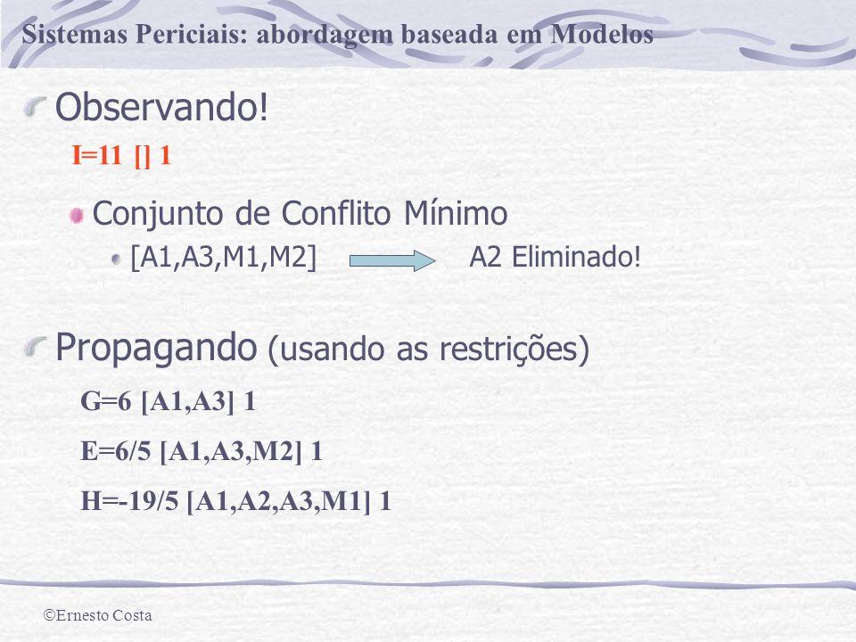 Ernesto Costa Sistemas Periciais: abordagem baseada em Modelos Valores Iniciais Propagando A=1 [] 0 B=2 [] 0 C=2 [] 0 Valor Lista de Dependências Ambiente E=2 [M1] 0 F=5 [A1] 0 G=10 [A1,M1,M2] 0 H=-3 [A1,A2,M1] 0 I=15 [A1,A3,M1,M2] 0 Valores Esperados.