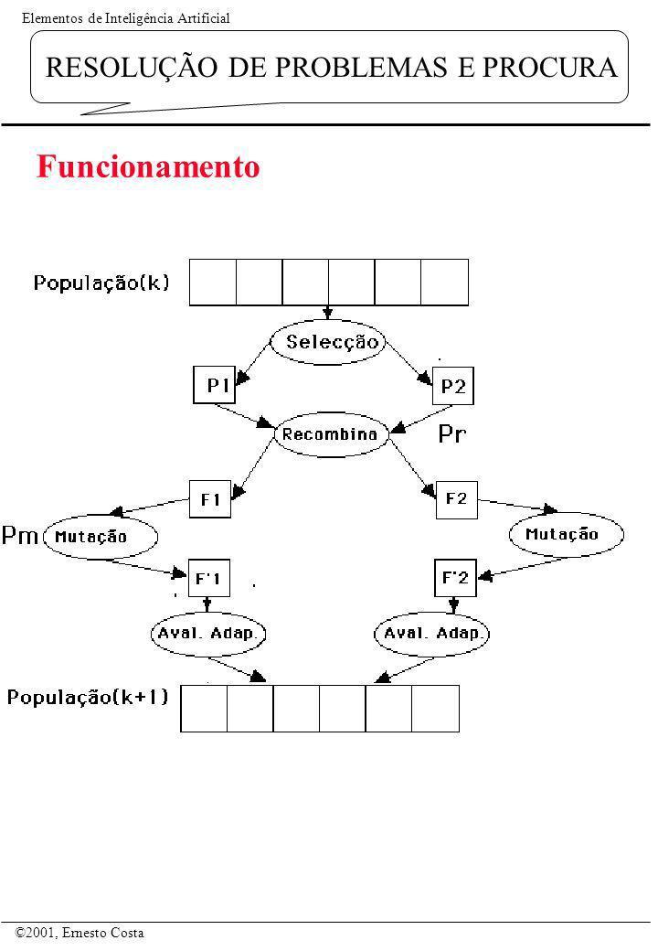 Elementos de Inteligência Artificial ©2001, Ernesto Costa RESOLUÇÃO DE PROBLEMAS E PROCURA Funcionamento