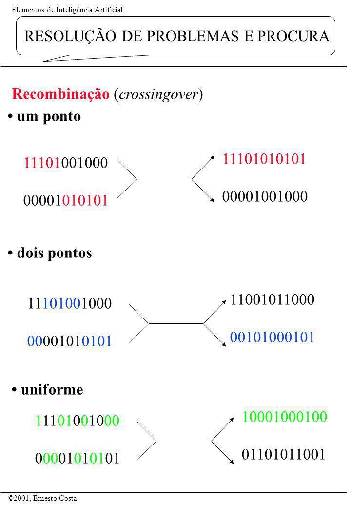 Elementos de Inteligência Artificial ©2001, Ernesto Costa RESOLUÇÃO DE PROBLEMAS E PROCURA um ponto 11101001000 00001010101 11101010101 00001001000 11