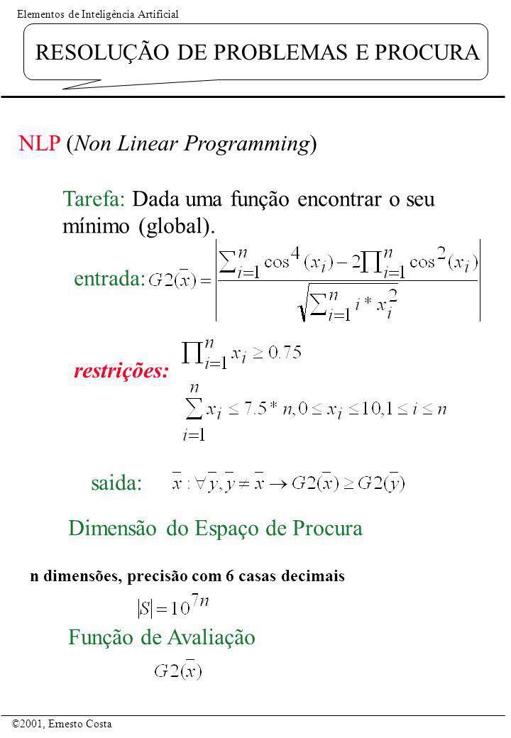 Elementos de Inteligência Artificial ©2001, Ernesto Costa RESOLUÇÃO DE PROBLEMAS E PROCURA NLP (Non Linear Programming) Tarefa: Dada uma função encont
