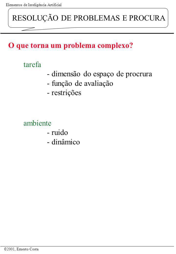 Elementos de Inteligência Artificial ©2001, Ernesto Costa RESOLUÇÃO DE PROBLEMAS E PROCURA O que torna um problema complexo? tarefa - dimensão do espa