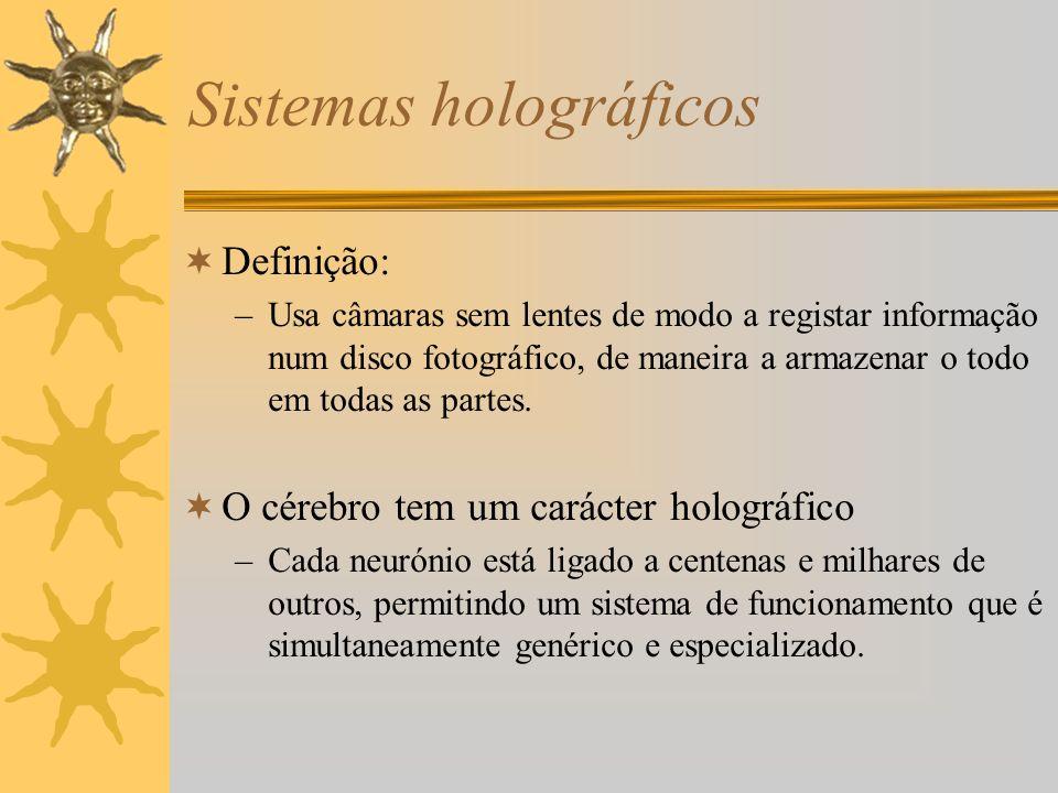Sistemas holográficos Definição: –Usa câmaras sem lentes de modo a registar informação num disco fotográfico, de maneira a armazenar o todo em todas a
