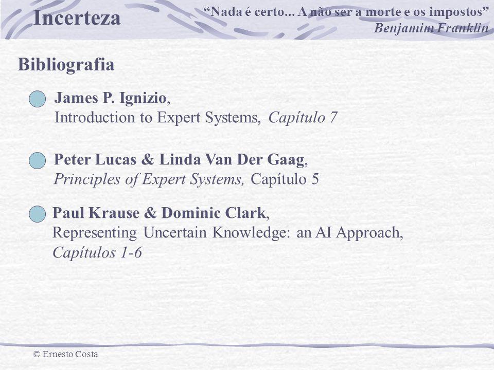 Incerteza © Ernesto Costa Exemplo U={Benfica, Sporting, Porto, Académica} A ernesto ={(Benfica,0.2),(Sporting,0.8),(Porto, 0.1), (Académica,1.0)} Exemplo U={x| x é uma idade entre 0 e 100} A=conjunto das idades jovens Conjuntos Vagos