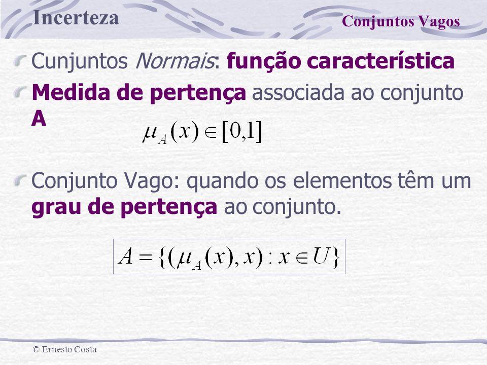 Incerteza © Ernesto Costa Cunjuntos Normais: função característica Medida de pertença associada ao conjunto A Conjunto Vago: quando os elementos têm u