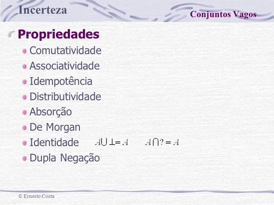 Incerteza © Ernesto Costa Propriedades Comutatividade Associatividade Idempotência Distributividade Absorção De Morgan Identidade Dupla Negação Conjun