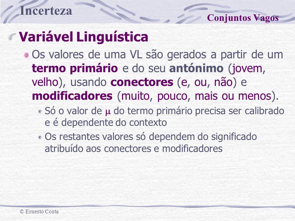 Incerteza © Ernesto Costa Variável Linguística Os valores de uma VL são gerados a partir de um termo primário e do seu antónimo (jovem, velho), usando