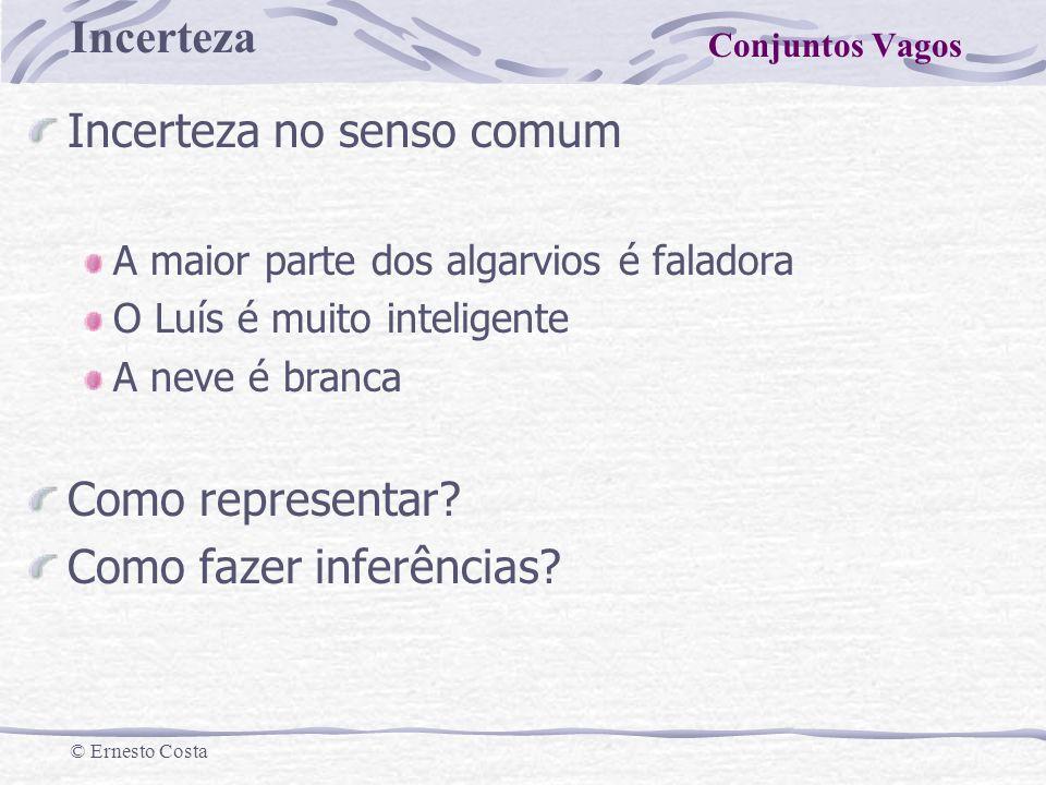 Incerteza © Ernesto Costa Variável Linguística Os valores de uma VL são gerados a partir de um termo primário e do seu antónimo (jovem, velho), usando conectores (e, ou, não) e modificadores (muito, pouco, mais ou menos).