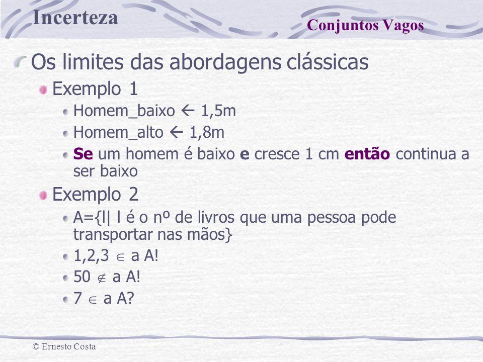 Incerteza © Ernesto Costa Os limites das abordagens clássicas Exemplo 1 Homem_baixo 1,5m Homem_alto 1,8m Se um homem é baixo e cresce 1 cm então conti