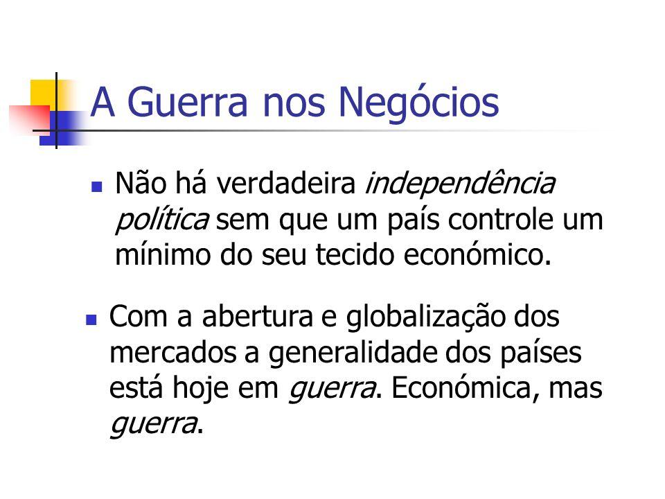 A Guerra nos Negócios Não há verdadeira independência política sem que um país controle um mínimo do seu tecido económico. Com a abertura e globalizaç