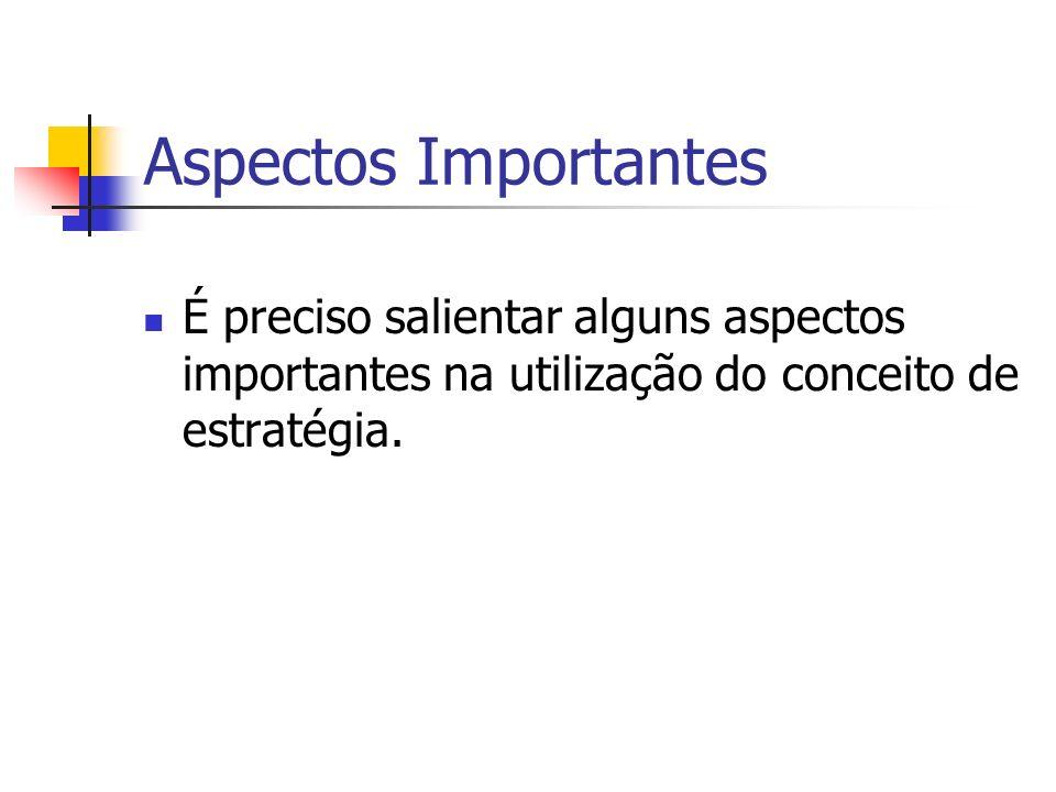 Aspectos Importantes É preciso salientar alguns aspectos importantes na utilização do conceito de estratégia.