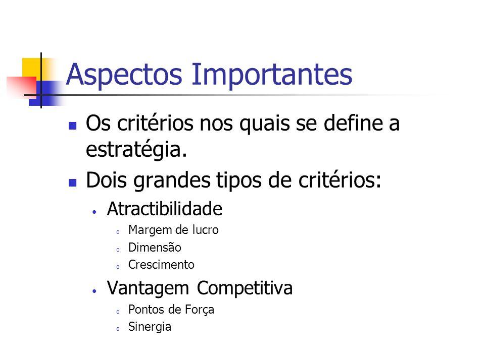 Aspectos Importantes Os critérios nos quais se define a estratégia. Dois grandes tipos de critérios: Atractibilidade o Margem de lucro o Dimensão o Cr
