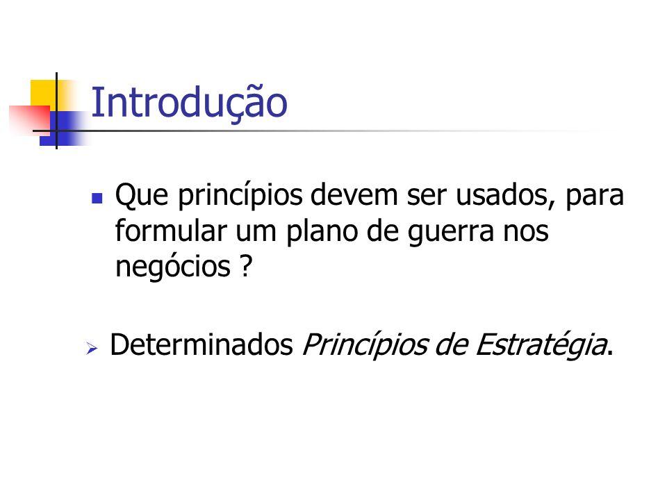 Introdução Que princípios devem ser usados, para formular um plano de guerra nos negócios ? Determinados Princípios de Estratégia.