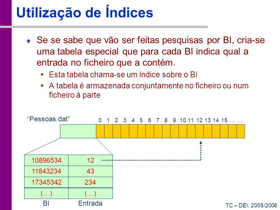 TC – DEI, 2005/2006 Utilização de Índices Se se sabe que vão ser feitas pesquisas por BI, cria-se uma tabela especial que para cada BI indica qual a e