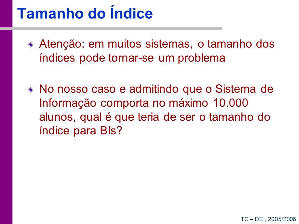 TC – DEI, 2005/2006 Tamanho do Índice Atenção: em muitos sistemas, o tamanho dos índices pode tornar-se um problema No nosso caso e admitindo que o Si