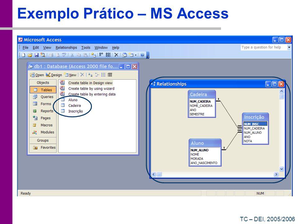 TC – DEI, 2005/2006 Exemplo Prático – MS Access