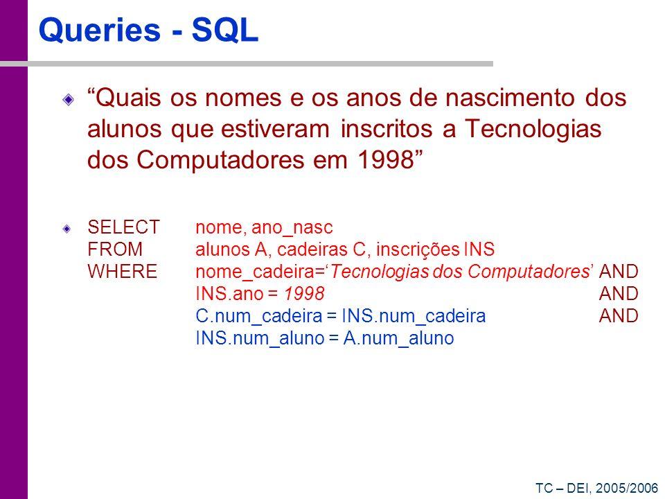 TC – DEI, 2005/2006 Queries - SQL Quais os nomes e os anos de nascimento dos alunos que estiveram inscritos a Tecnologias dos Computadores em 1998 SEL