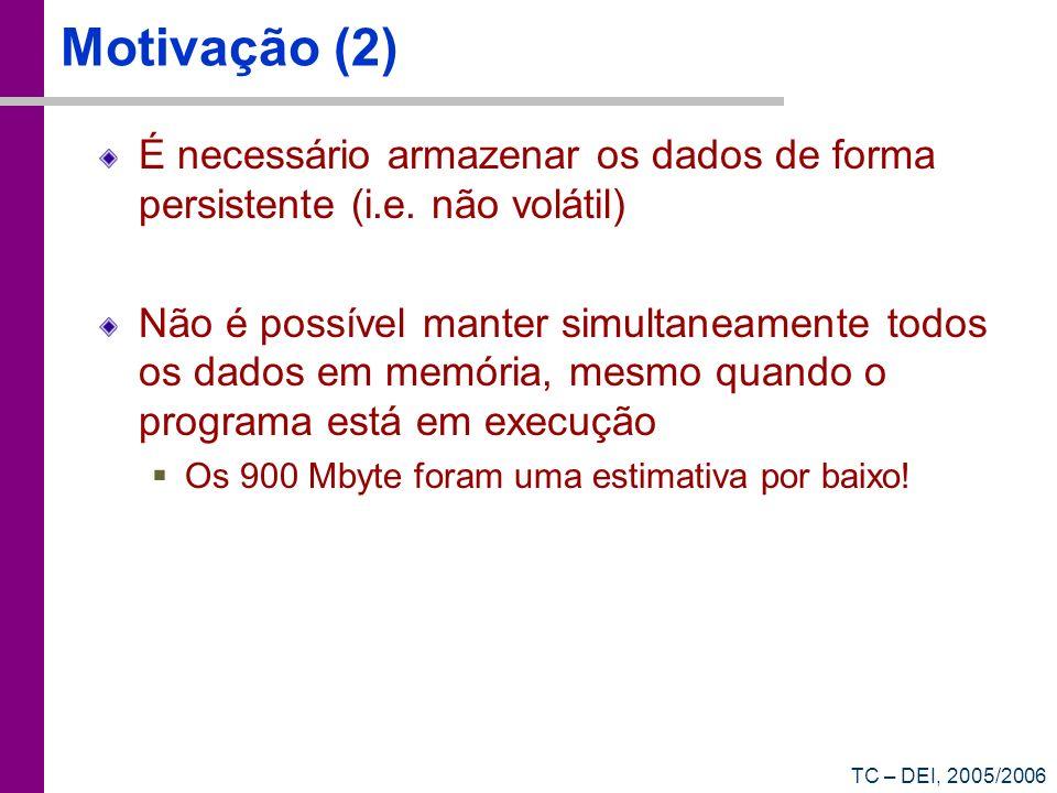 TC – DEI, 2005/2006 Motivação (2) É necessário armazenar os dados de forma persistente (i.e. não volátil) Não é possível manter simultaneamente todos