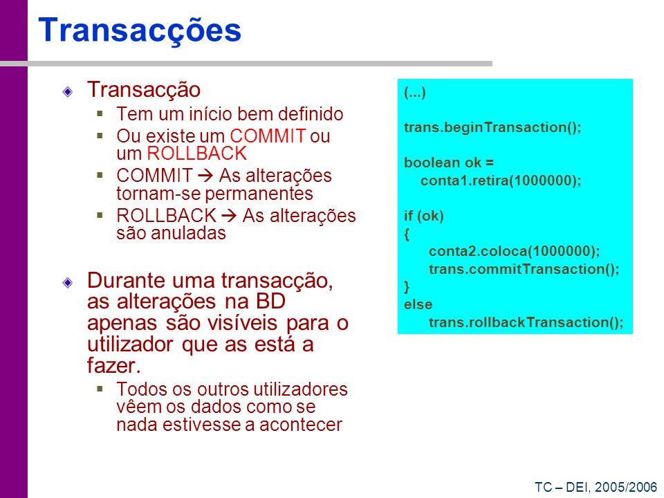 TC – DEI, 2005/2006 Transacções Transacção Tem um início bem definido Ou existe um COMMIT ou um ROLLBACK COMMIT As alterações tornam-se permanentes RO