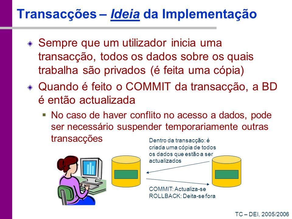 TC – DEI, 2005/2006 Transacções – Ideia da Implementação Sempre que um utilizador inicia uma transacção, todos os dados sobre os quais trabalha são pr