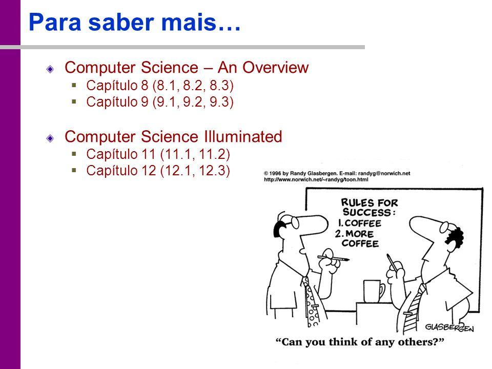 TC – DEI, 2005/2006 Para saber mais… Computer Science – An Overview Capítulo 8 (8.1, 8.2, 8.3) Capítulo 9 (9.1, 9.2, 9.3) Computer Science Illuminated