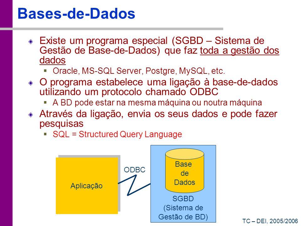 TC – DEI, 2005/2006 Bases-de-Dados Existe um programa especial (SGBD – Sistema de Gestão de Base-de-Dados) que faz toda a gestão dos dados Oracle, MS-