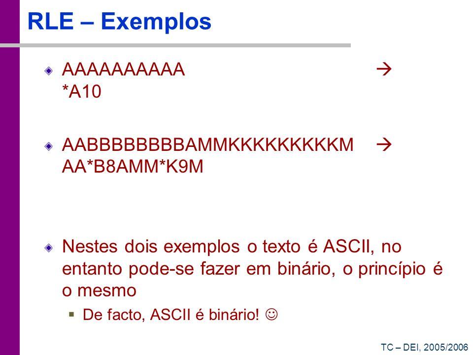TC – DEI, 2005/2006 RLE – Exemplos AAAAAAAAAA *A10 AABBBBBBBBAMMKKKKKKKKKM AA*B8AMM*K9M Nestes dois exemplos o texto é ASCII, no entanto pode-se fazer