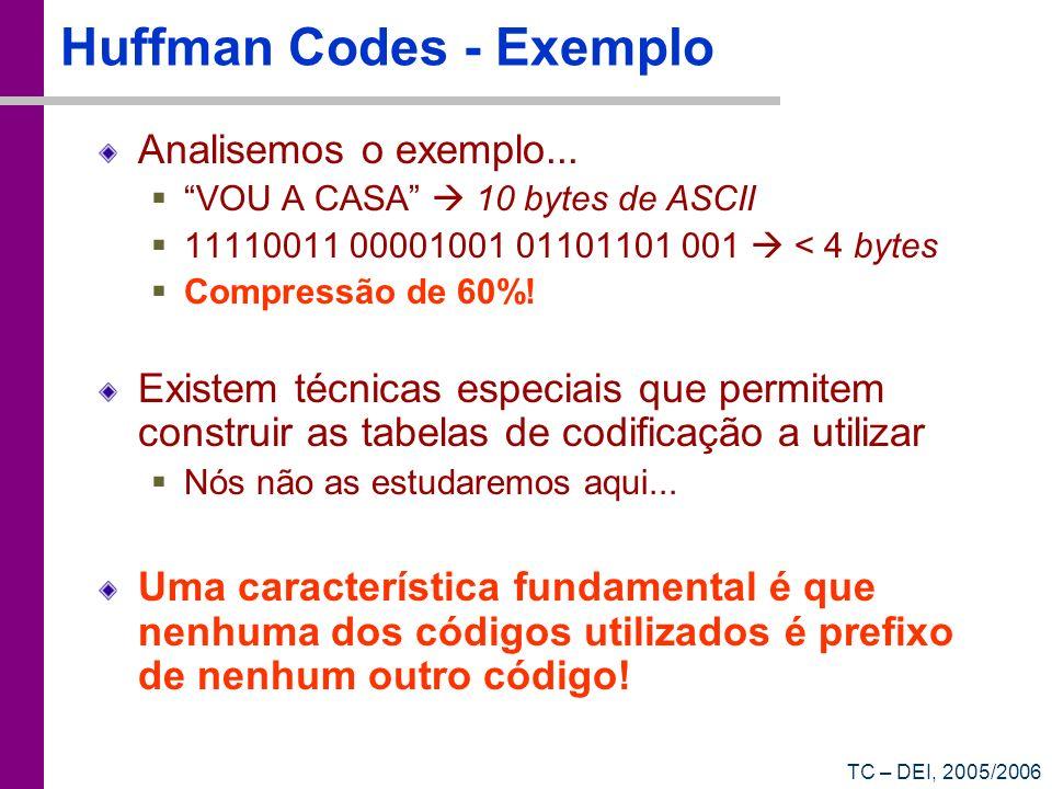 TC – DEI, 2005/2006 Huffman Codes - Exemplo Analisemos o exemplo... VOU A CASA 10 bytes de ASCII 11110011 00001001 01101101 001 < 4 bytes Compressão d