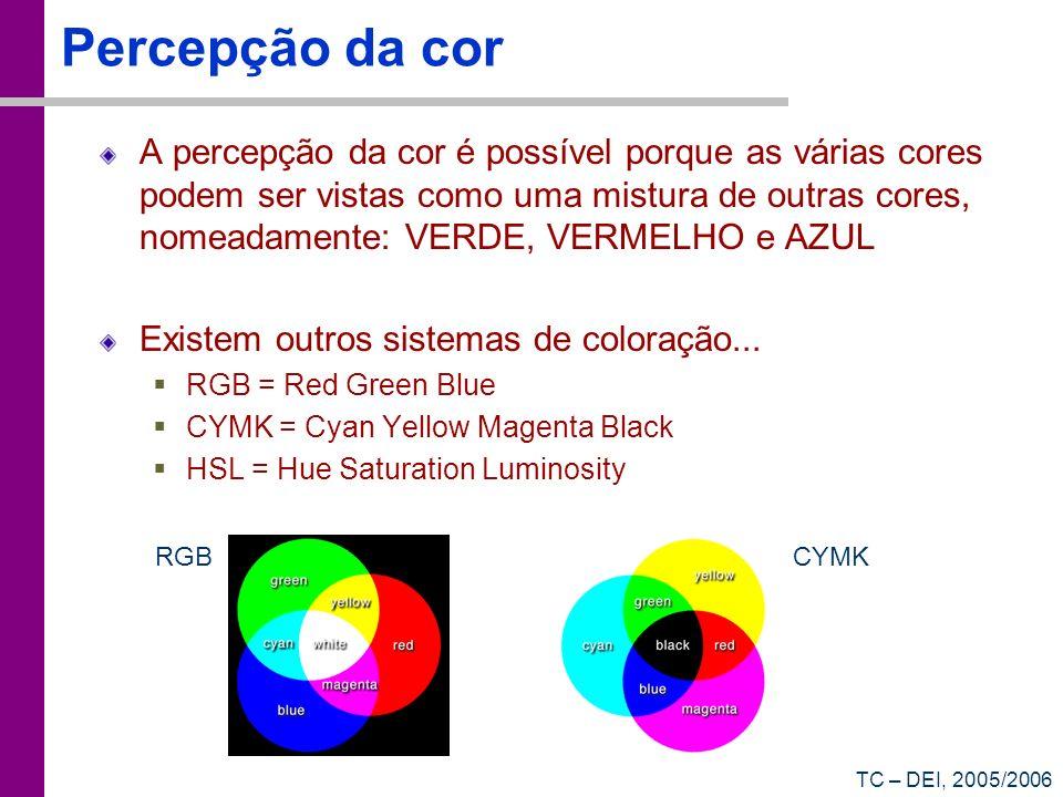 TC – DEI, 2005/2006 Percepção da cor A percepção da cor é possível porque as várias cores podem ser vistas como uma mistura de outras cores, nomeadame