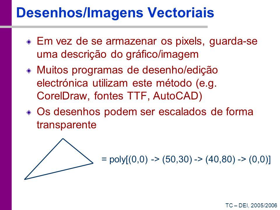 TC – DEI, 2005/2006 Desenhos/Imagens Vectoriais Em vez de se armazenar os pixels, guarda-se uma descrição do gráfico/imagem Muitos programas de desenh