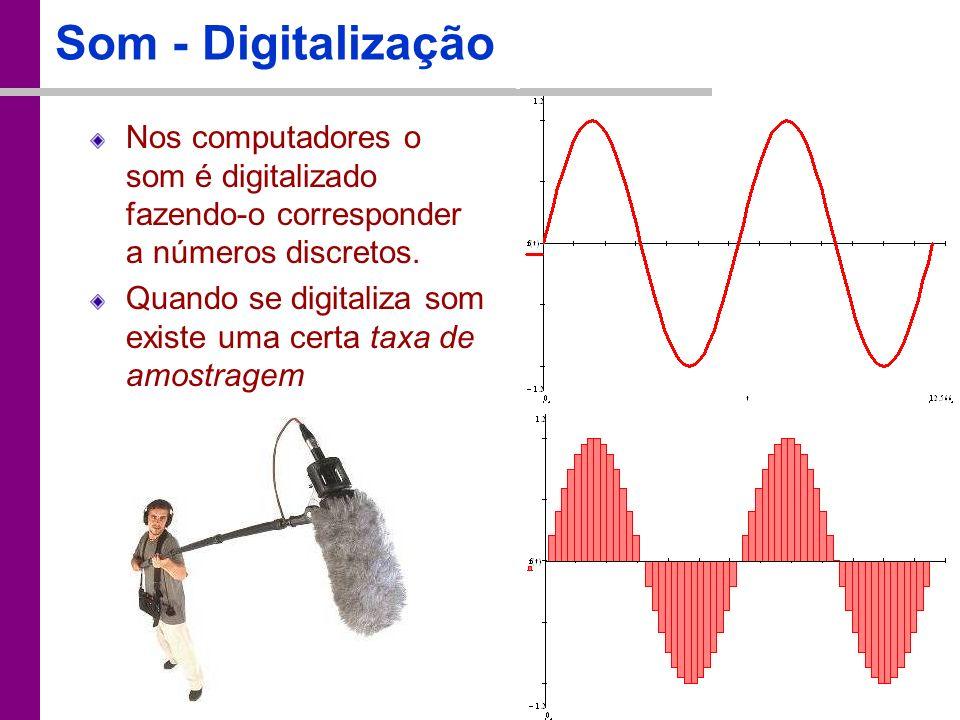 TC – DEI, 2005/2006 Som - Digitalização Nos computadores o som é digitalizado fazendo-o corresponder a números discretos. Quando se digitaliza som exi