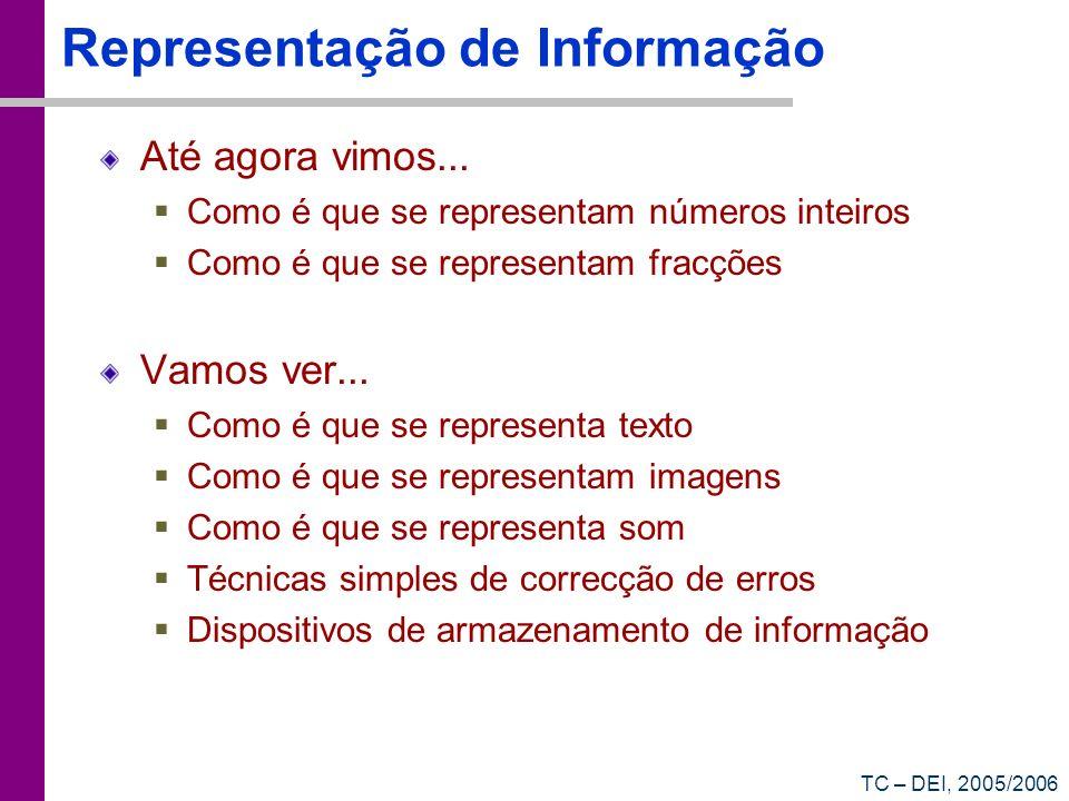 TC – DEI, 2005/2006 Representação de Informação Até agora vimos... Como é que se representam números inteiros Como é que se representam fracções Vamos