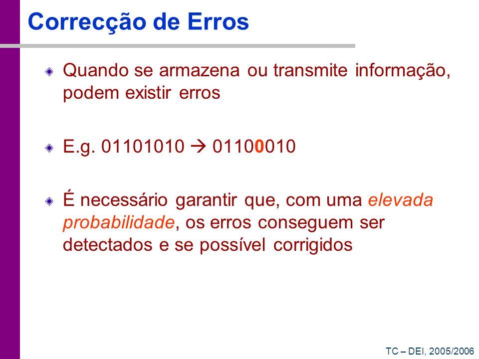 TC – DEI, 2005/2006 Correcção de Erros Quando se armazena ou transmite informação, podem existir erros E.g. 01101010 01100010 É necessário garantir qu
