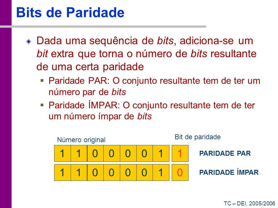TC – DEI, 2005/2006 Bits de Paridade Dada uma sequência de bits, adiciona-se um bit extra que torna o número de bits resultante de uma certa paridade