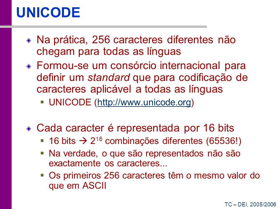 TC – DEI, 2005/2006 UNICODE Na prática, 256 caracteres diferentes não chegam para todas as línguas Formou-se um consórcio internacional para definir u