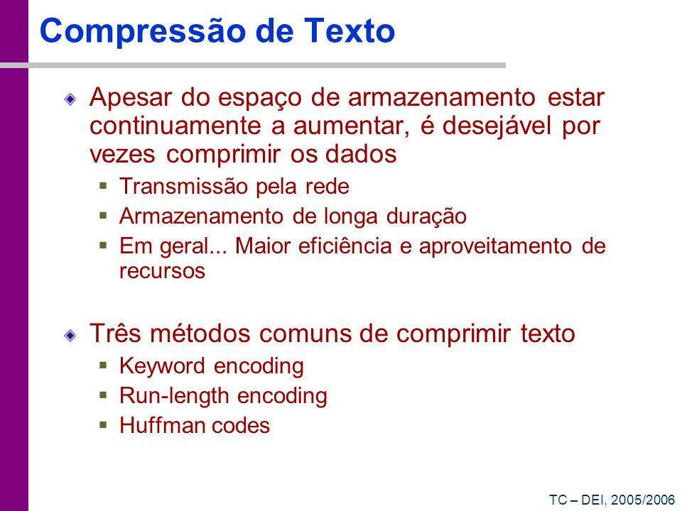 TC – DEI, 2005/2006 Compressão de Texto Apesar do espaço de armazenamento estar continuamente a aumentar, é desejável por vezes comprimir os dados Tra