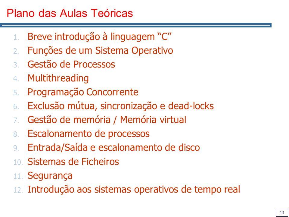 13 Plano das Aulas Teóricas 1. Breve introdução à linguagem C 2.