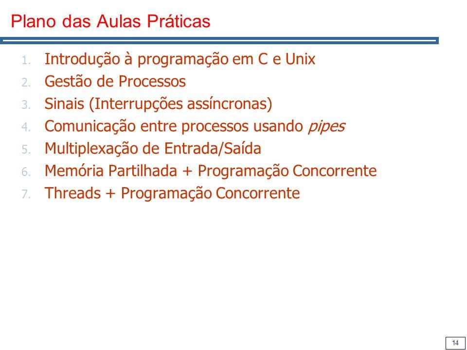 14 Plano das Aulas Práticas 1. Introdução à programação em C e Unix 2.