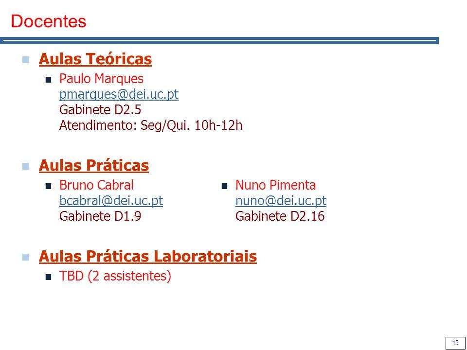 15 Docentes Aulas Teóricas Paulo Marques pmarques@dei.uc.pt Gabinete D2.5 Atendimento: Seg/Qui.