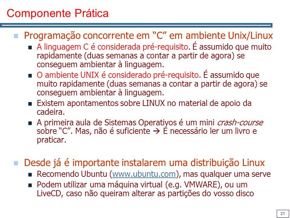 21 Componente Prática Programação concorrente em C em ambiente Unix/Linux A linguagem C é considerada pré-requisito.