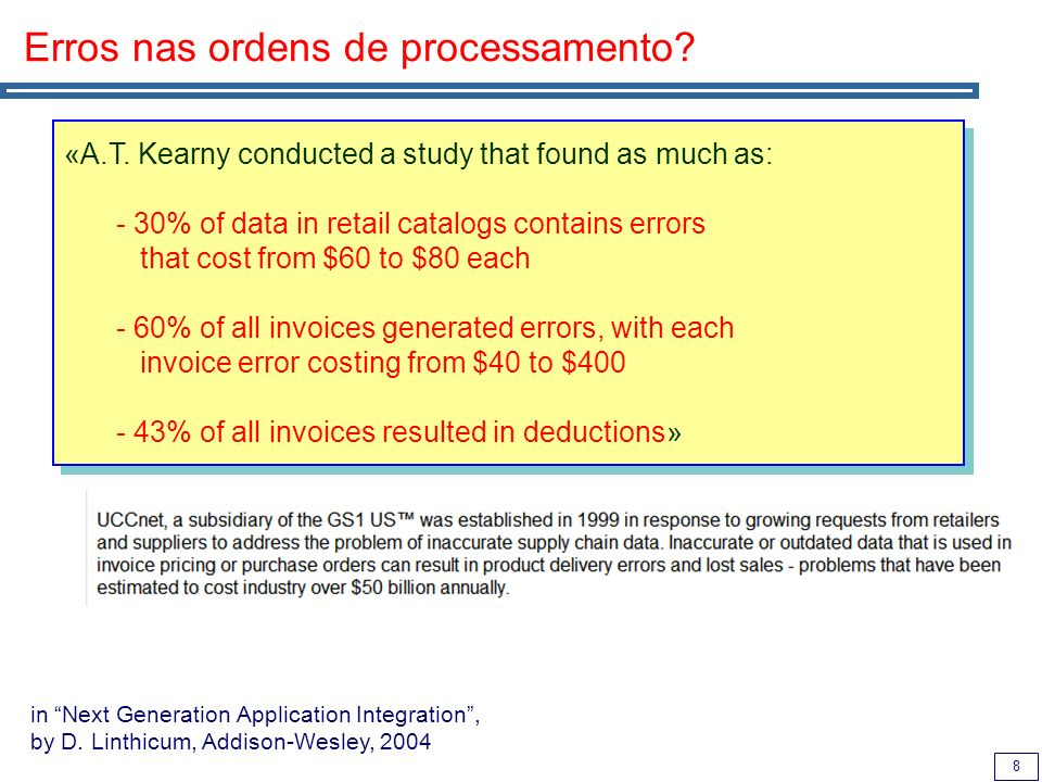 8 Erros nas ordens de processamento? «A.T. Kearny conducted a study that found as much as: - 30% of data in retail catalogs contains errors that cost
