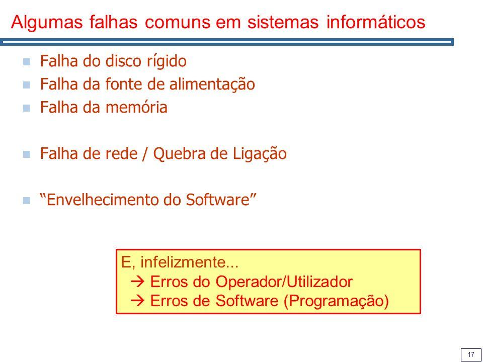 17 Algumas falhas comuns em sistemas informáticos Falha do disco rígido Falha da fonte de alimentação Falha da memória Falha de rede / Quebra de Ligação Envelhecimento do Software E, infelizmente...