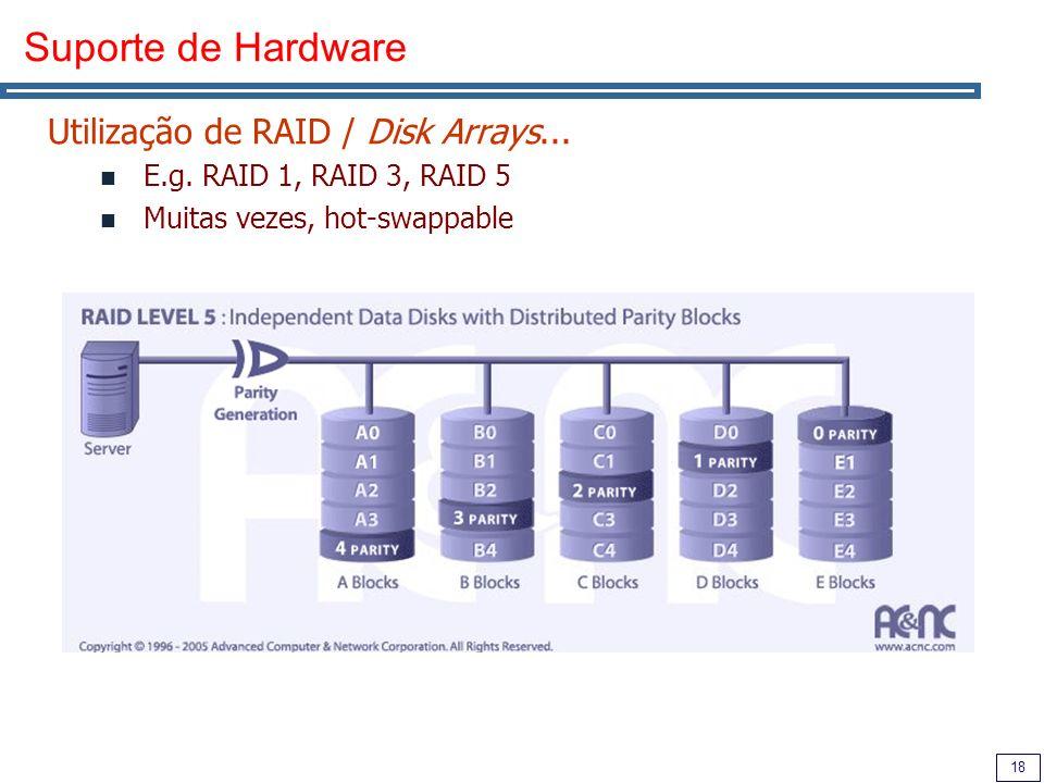 18 Suporte de Hardware Utilização de RAID / Disk Arrays...