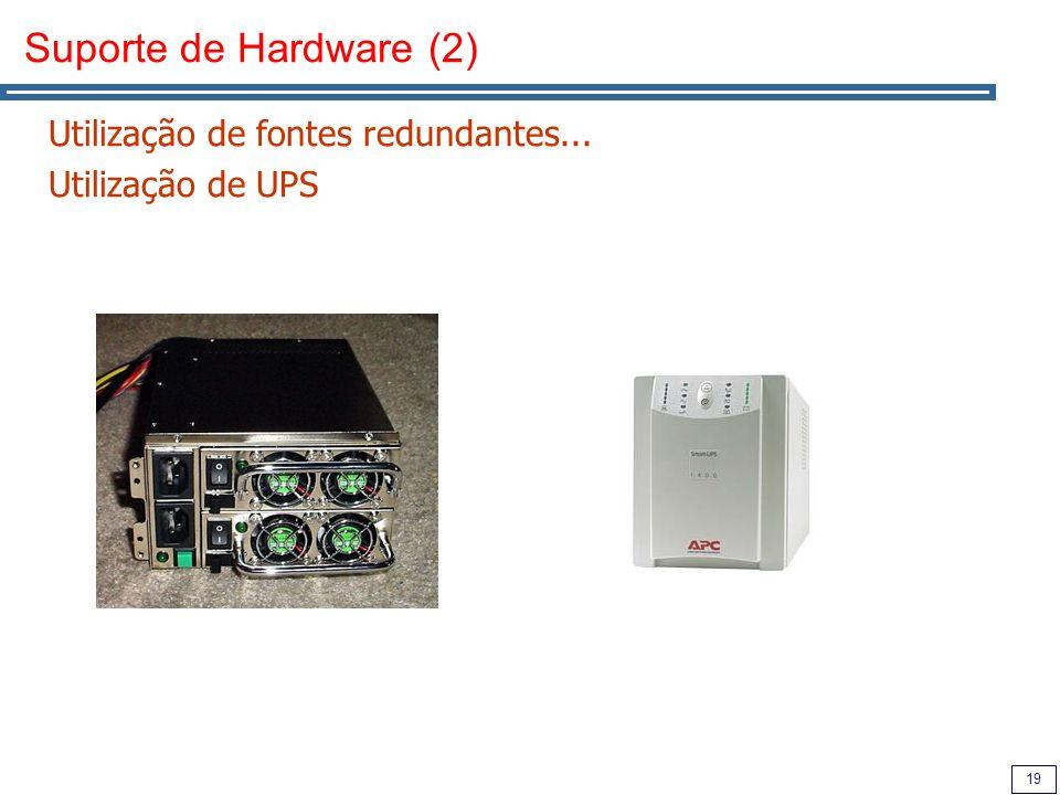19 Suporte de Hardware (2) Utilização de fontes redundantes... Utilização de UPS
