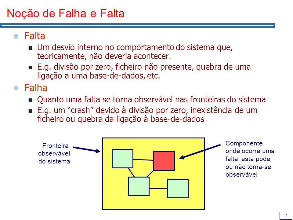 2 Noção de Falha e Falta Falta Um desvio interno no comportamento do sistema que, teoricamente, não deveria acontecer.