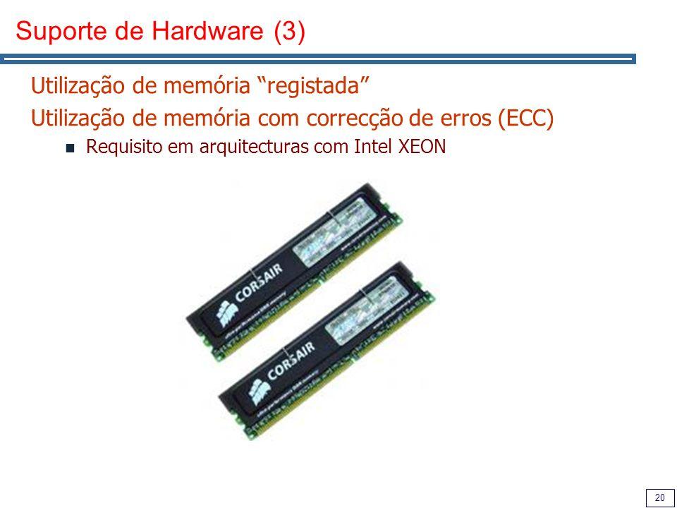 20 Suporte de Hardware (3) Utilização de memória registada Utilização de memória com correcção de erros (ECC) Requisito em arquitecturas com Intel XEON