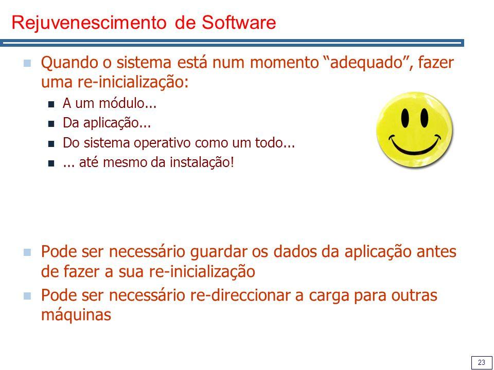 23 Rejuvenescimento de Software Quando o sistema está num momento adequado, fazer uma re-inicialização: A um módulo...