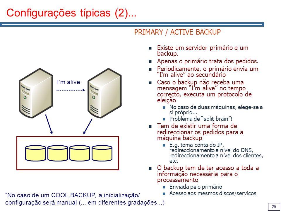 25 Configurações típicas (2)... PRIMARY / ACTIVE BACKUP Existe um servidor primário e um backup.