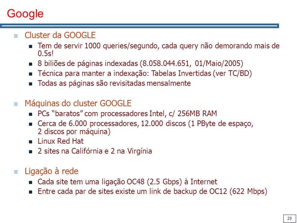 29 Google Cluster da GOOGLE Tem de servir 1000 queries/segundo, cada query não demorando mais de 0.5s.