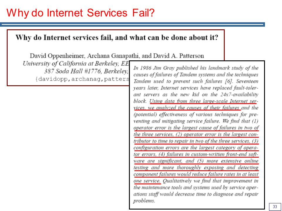 33 Why do Internet Services Fail?
