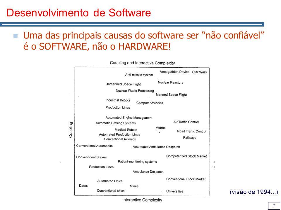 7 Desenvolvimento de Software Uma das principais causas do software ser não confiável é o SOFTWARE, não o HARDWARE.